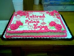 retirement party cakes in hot pink with roses.jpg