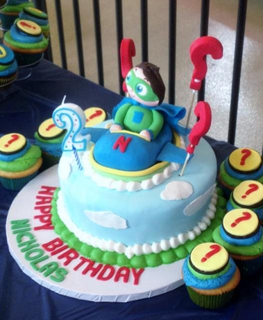 Stupendous Super Why Wyatt 2Nd Birthday Cake Accompanying Cupcakes Jpg Personalised Birthday Cards Paralily Jamesorg