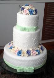 3 Tier Wedding Cake with Gum Paste Flowers & Light Green Bows.JPG
