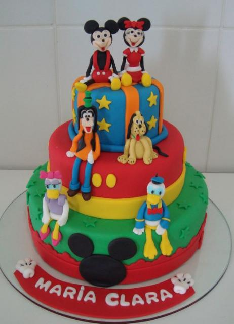 Image of three tier Disney Character birthday cake