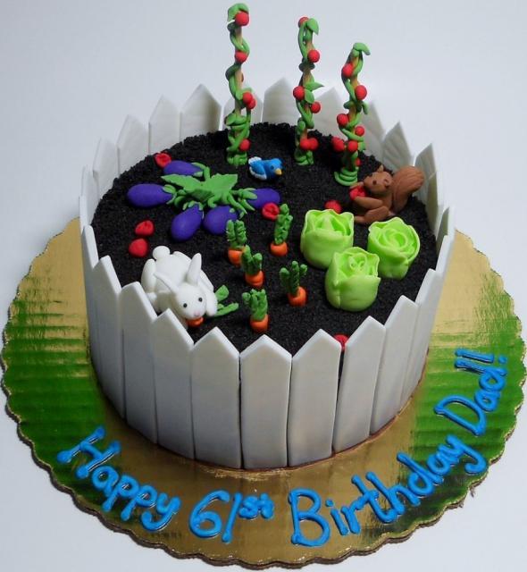 Vegetable and flower garden cake with white fence.JPG Hi ...