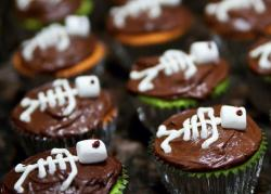 Halloween Skeleton Chocolate Cupcakes with White Marshmellow as the head.JPG