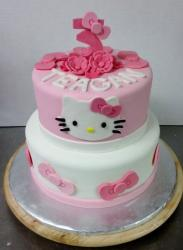Cute 2 tier Hello Kitty Birthday Cake with Pink #3 on top for Three year-old.JPG