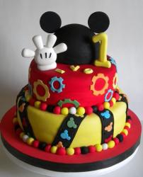 Mickey Mouse 2 tier first birthday cake with white glove plus gear and mickey patterns.JPG
