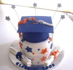 Graduation cake with blue cap and diploma.JPG