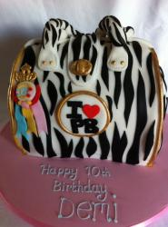 Zebra print handbag cake for Girl's 10th birthday.JPG