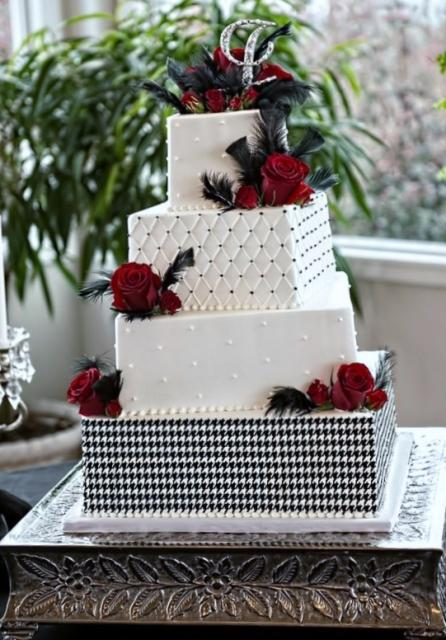 red and white square wedding cakes 4 tier square white wedding cake with roses slight 19094