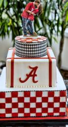 Alabama Crimson Tide Groom's Cake in 3 tiers with groom kissing bride topper.JPG