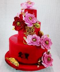 Red 3 Tier Wedding Cake with Chinese Kanji Characters Pink Flowers & Golden Fish.JPG