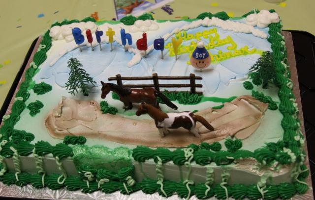 Horse and outdoors theme birthday cake.JPG