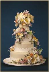 spring wedding cake with fresh flowers