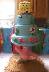 3 tier Spongebob Squarepants cake with Spongbob on top and Patrick on the bottom holding up cake.JPG