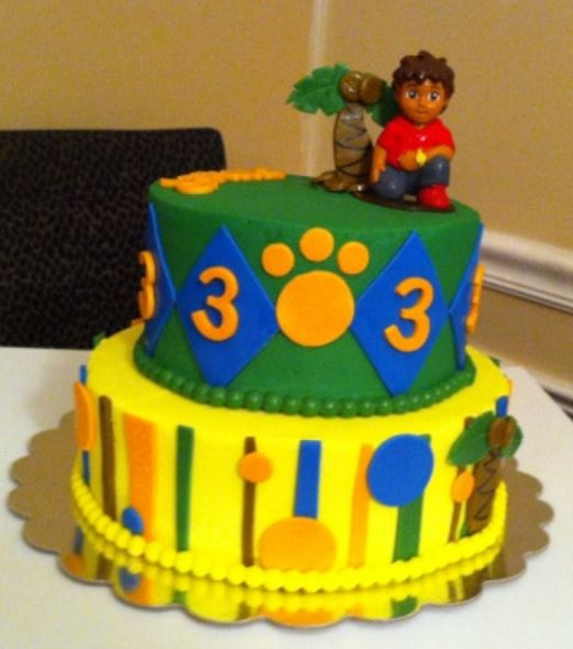 Two Tier Diego Theme Third Birthday Cake.JPG