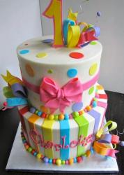 Round 2 Tier First Birthday Cake Pink Bow Pokadots & Stripes.JPG