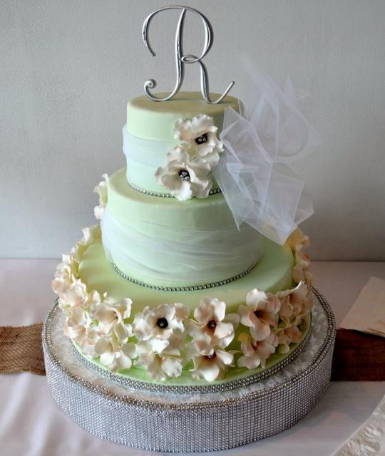 Light Green 3 Tier Round Wedding Cake White Flowers Transparent Fabric Amp Monogram TopperJPG Hi