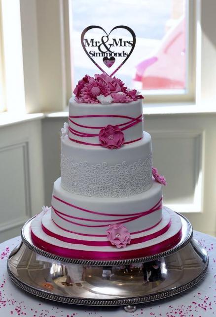 White Round 3 Tier Wedding Cake Pink Flowers Mr Mrs Heart Shape