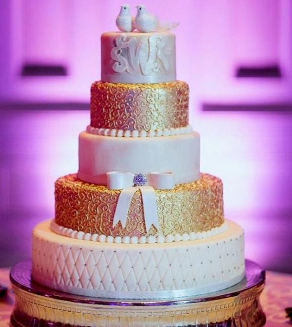 5 Tier Round White Amp Gold Wedding Cake Love Bird Toppers Jpg