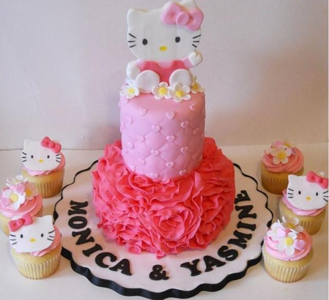 2 Tier Hello Kitty Pink Cake With Accompanying Cupcakesg Hi Res