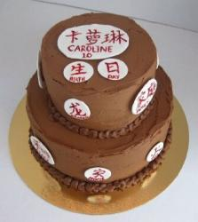 Chocolate birthday cake with Chinese characters and writing.JPG