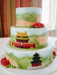 3 level round wedding cake with Chinese architecture themes including Great Wall and Forbidden Palace.JPG