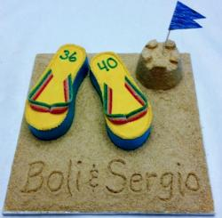 Beach sand and sandals cake with sand castle.JPG