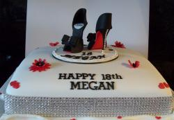 White one level rectangular woman's birthday cake with black heels and bling band surrounding.JPG