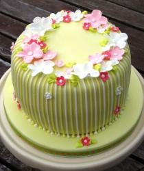 Green striped birthday cake with flowers.JPG