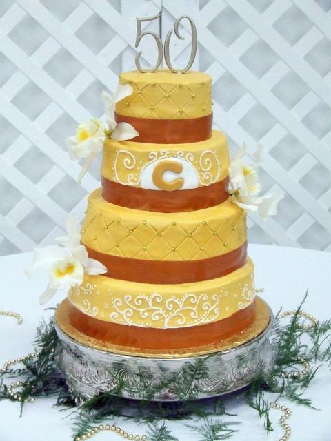 Four tier 50th anniversary Wedding Cake.jpg Hi-Res 720p HD