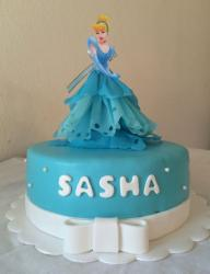 Turquoise Round Cake with Cinderella on Top.JPG