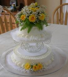 50th Anniversary Cake with fresh flowers with yellow roses.jpg