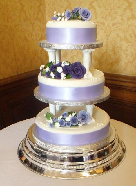 3 Tier Lavender And White Wedding Cake Pillars Between Tiers Purple Fl Decor Jpg