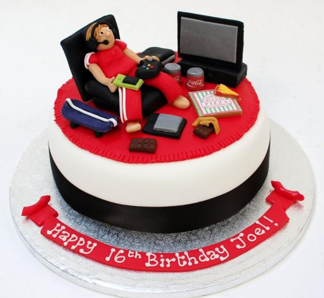 Awesome Video Gamer Theme Birthday Cake With Flatscreen Xbox Pizza Coke Funny Birthday Cards Online Alyptdamsfinfo
