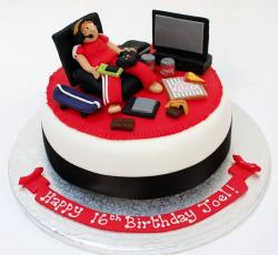 Video Gamer theme birthday cake with flatscreen XBox Pizza & Coke.JPG