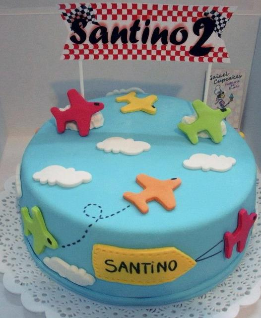 Airplanes In The Sky Theme Blue Round Second Birthday Cakeg Hi