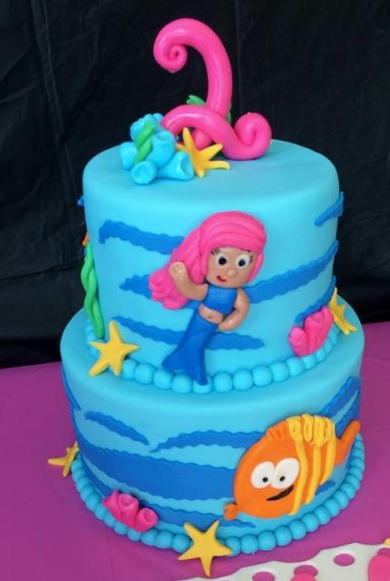 Swell Bubble Guppies 2 Tier Blue Birthday Cake For Two Year Old Jpg Funny Birthday Cards Online Hendilapandamsfinfo