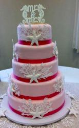 Pink 5 Tier Wedding Cake with Sea Horse Mr & Mrs Topper.JPG