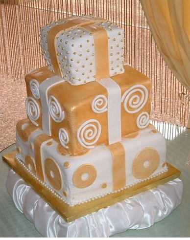 Square Three Tier 50th Anniversary Cakes Ideas Jpg 2