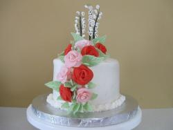 wedding cake first anniversary with bright roses.jpg
