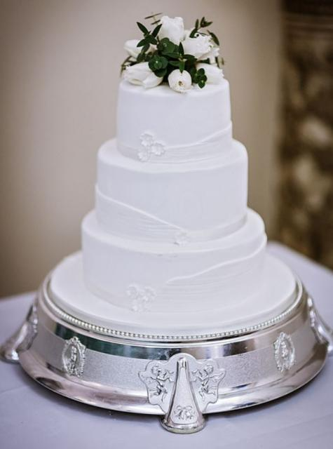 Elegant Smaller Size 3 Tier White Wedding Cake With Fresh Flowers On TopJPG Hi Res 720p HD