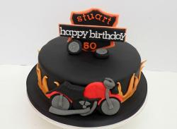 Harley Davidson 50th birthday black cake with bike.JPG