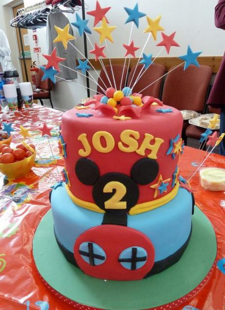 Miraculous Two Tier Mickey Theme Birthday Cake For 2 Year Old With Shooting Funny Birthday Cards Online Inifodamsfinfo