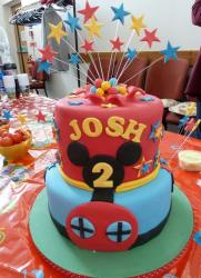 Two tier Mickey theme birthday cake for 2 year old with shooting stars.JPG