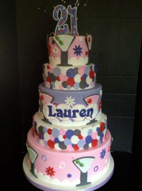 5 Tier 21st Birthday Cake For Woman In Pink With Martini