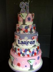 5 tier 21st birthday cake for woman in pink with martini glasses.JPG