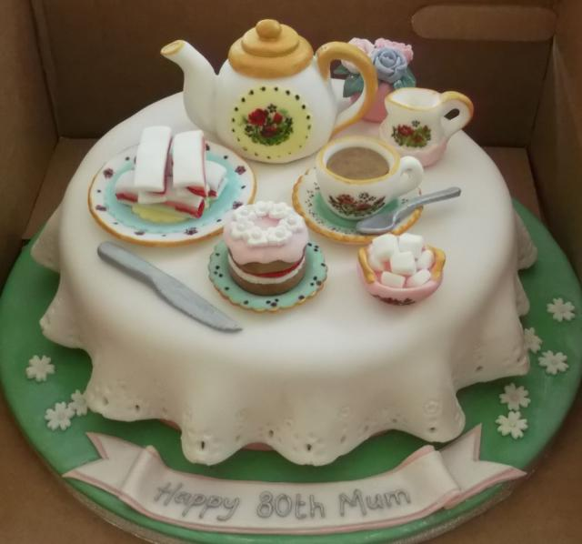 Tea Party Birthday Cake For 80 Year Old Mother