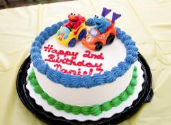 Baby Elmo & Cookie Monster Round Second Birthday Cake.JPG