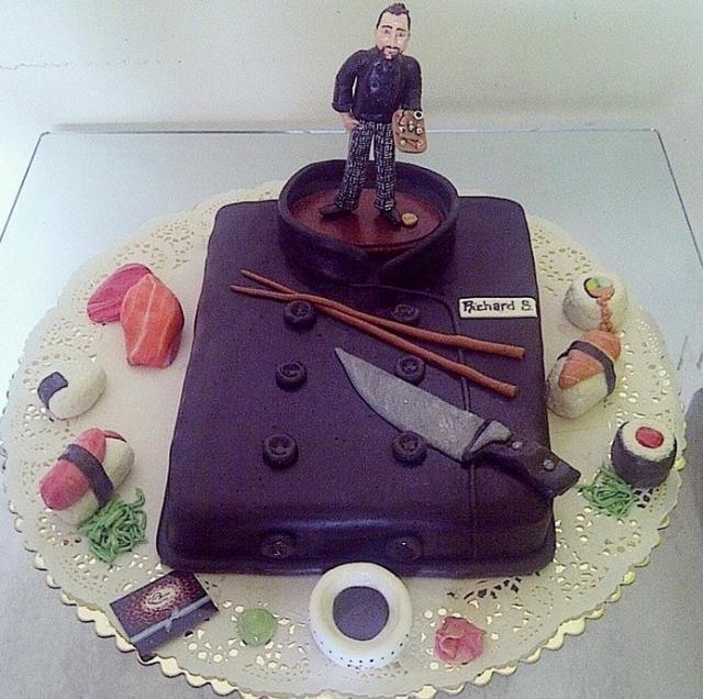 Executive Chef Uniform Restaurant Theme Cake With Sushi.JPG
