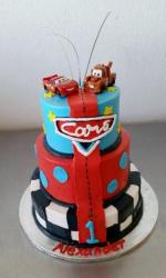 Three Tier Cars Cake with Lightnight McQueen & Mater on top for One Year-Old.JPG