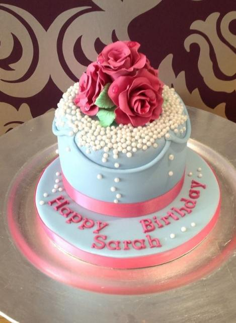Powder Blue Birthday Cake For Woman With Roses And Pearls On TopJPG