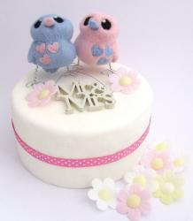 1-tier round white small wedding cake with Mr and Mrs Lovebird toppers.JPG
